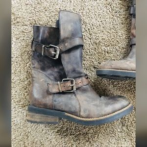Distressed Leather Strappy Buckled Moto Boot EUC